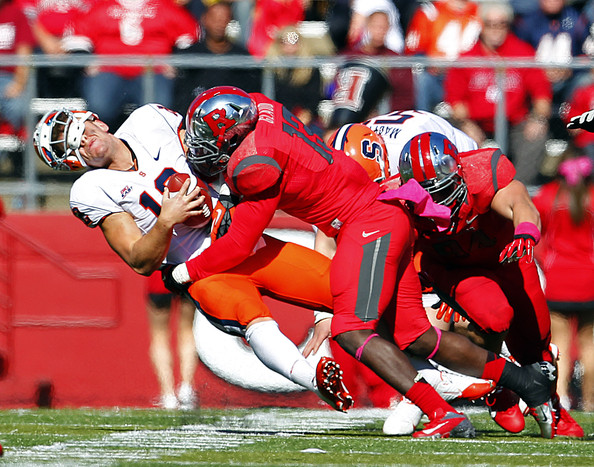 Ka'Lial sacking Syracuse QB.  Photo: Rich Schultz/Getty Images North America