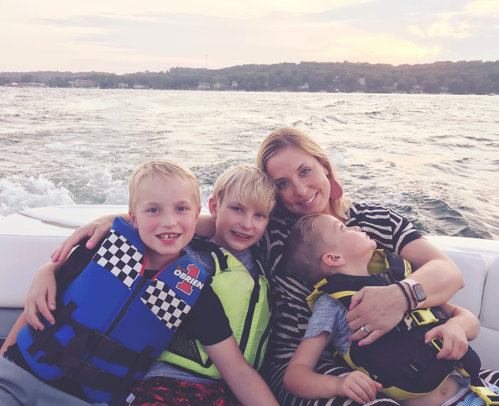 Me, Blake, Chase + Bodey. We always feel close to Ethan on the water.