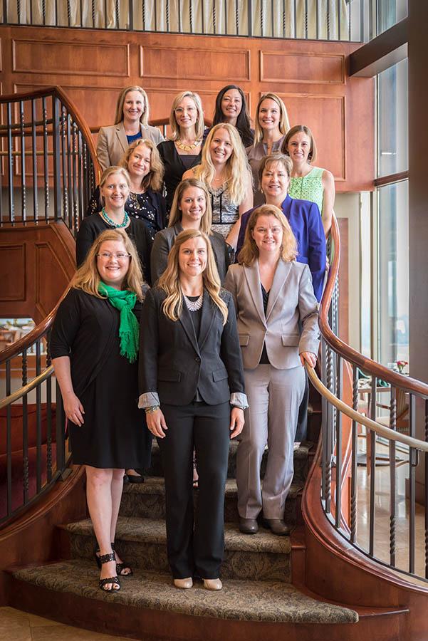 Graduates are, from left, first row: Sarah Vidal-Finn, Gainesville CRA; Jami Houston, Ervin Lovett Miller; Autumn Martinage, city of Jacksonville; second row: Melanie Kleehammer, Haskell; Rebecca Price, England-Thims & Miller; Suzanne Cortina, Meskel & Associates Engineering; third row: Lauren Langham, Smith, Hulsey & Busey; Hannah King, ULI North Florida; Amber Labagh, Haskell; top row: Holly Grimes, Wakefield Beasley & Associates; Jessica Hurst, Regency Centers; Sarah King, Prosser; and Meghan Dones, Regency Centers.