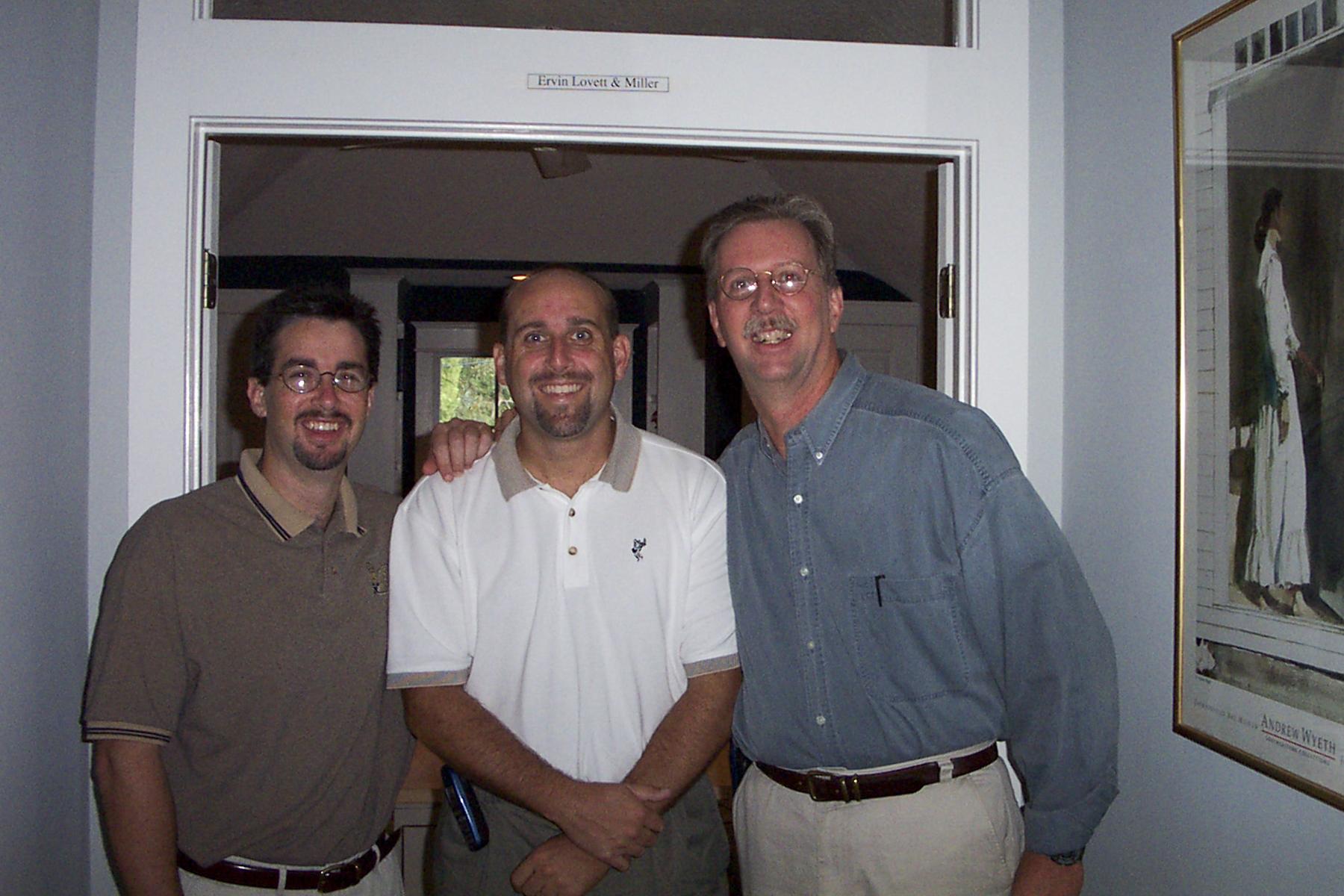 Russ Ervin, Tim Miller and Steve Lovett in 2001, on ELM's first day in business.