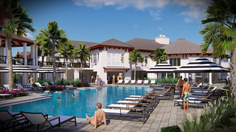 Rendering of the pool area of the renovated Amelia Island Club Ocean Clubhouse.