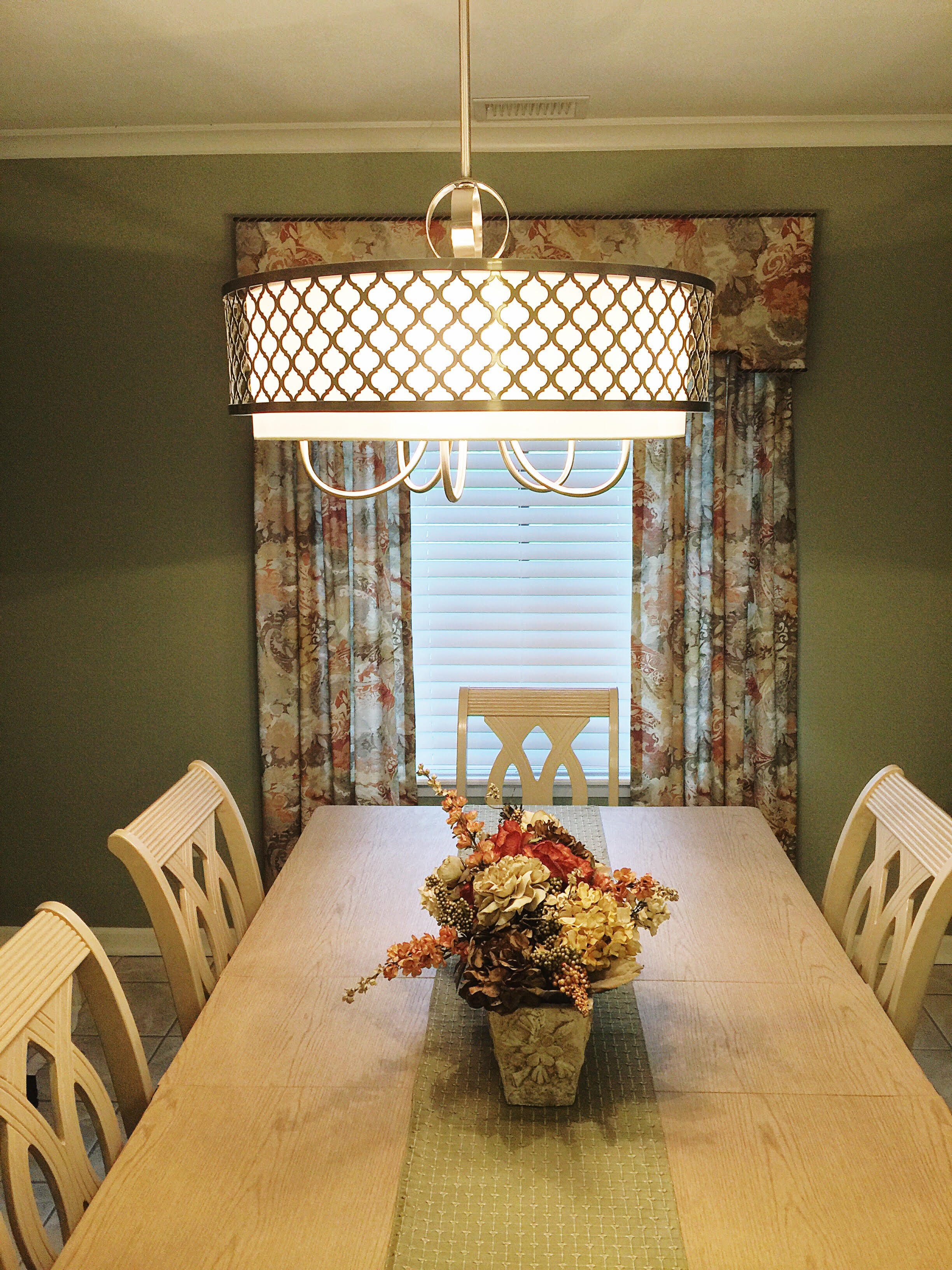 Added new table top, lighting, floral arrangement & wall accessories.