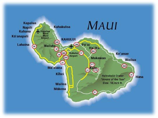 Map of Maui, Hawaii