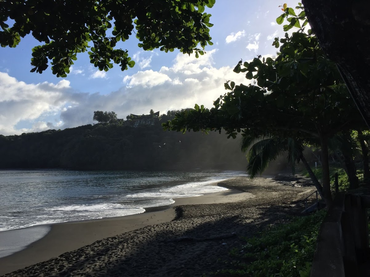Black sand beaches outside our hotel