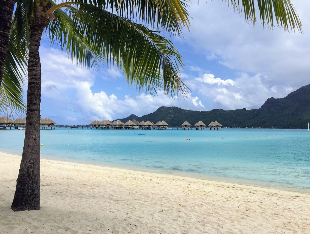 Over the water bungalows at the Le Meridien Bora Bora