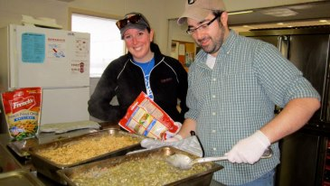 Volunteer Cooks preparing green bean casserole at the South Side