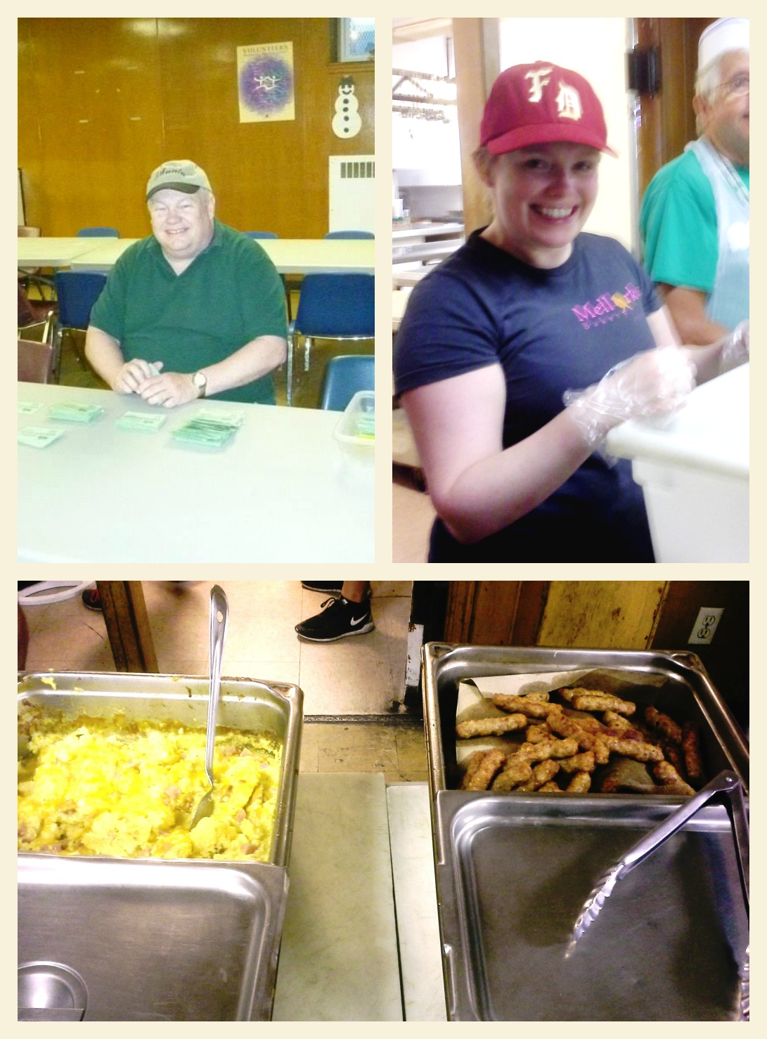 Top left: Bob Heindl organizes tickets for the Gathering's Breakfast Program; Top right: Sam hands out silverware in the serving line; Bottom: 7/22 Sharon's birthday breakfast sausage and eggs