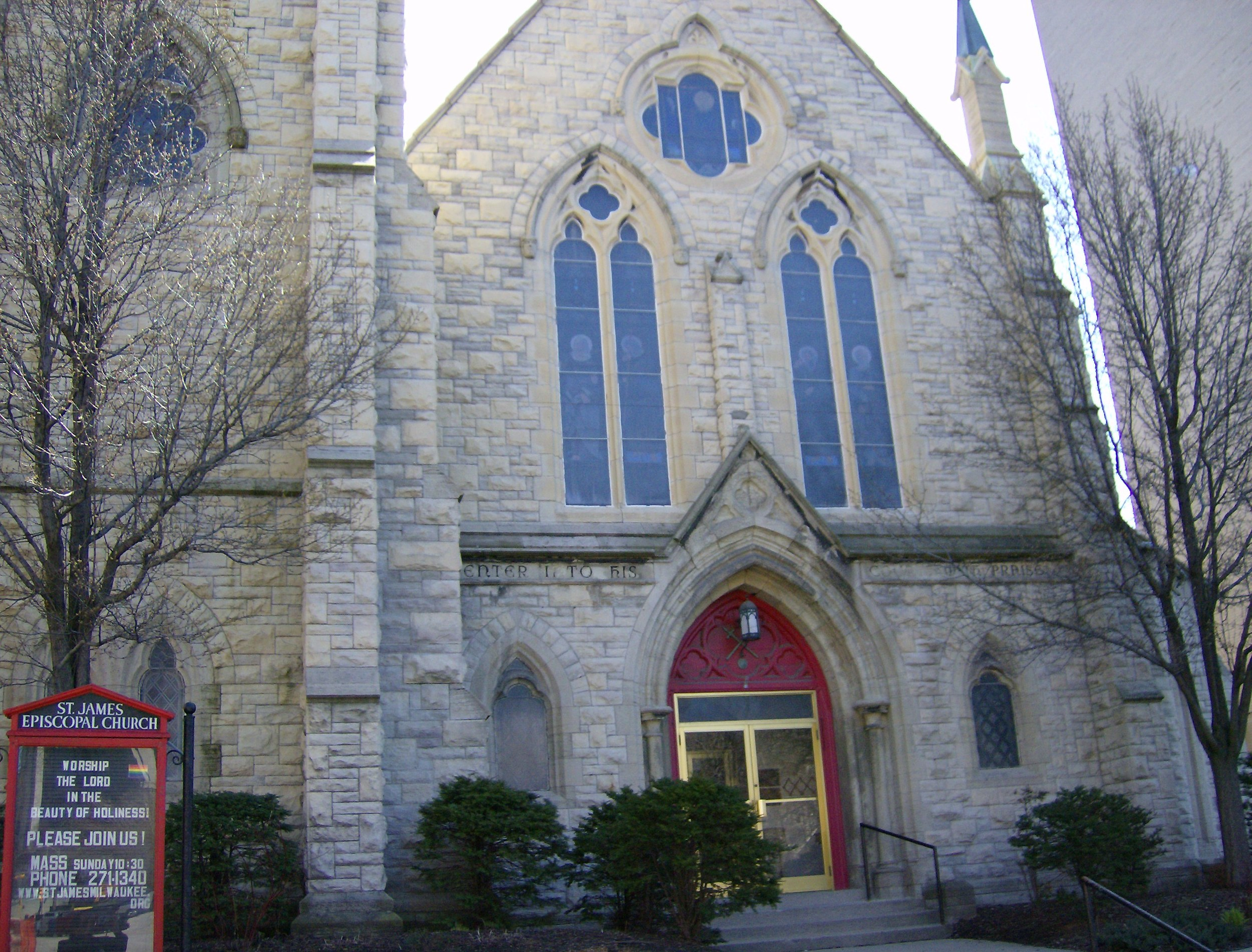 View of the front of St. James Episcopal Church