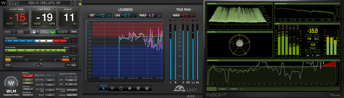 A few commercially available common real-time loudness meter plugins.