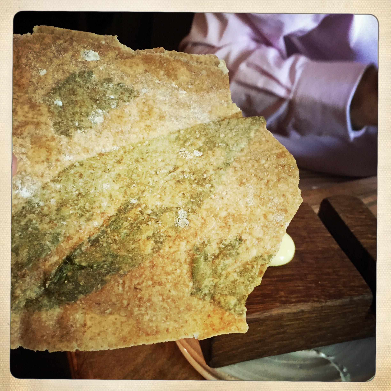 Wild garlic crisp bread