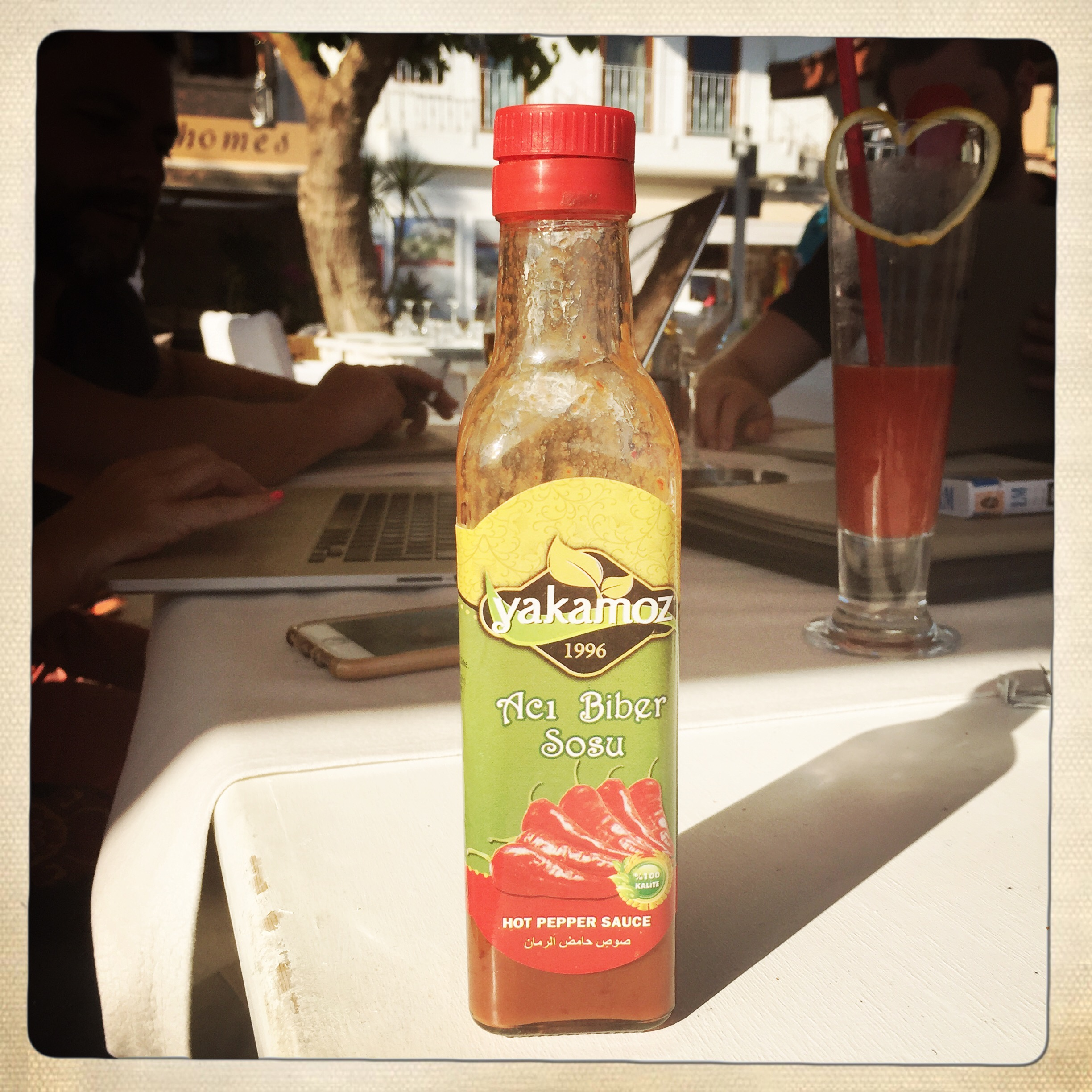 Hot pepper sauce. Really very hot, and especially good in a Bloody Mary