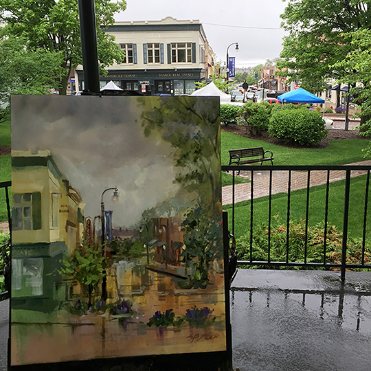 Quick Painting under the town square gazebo during a spring rain storm.