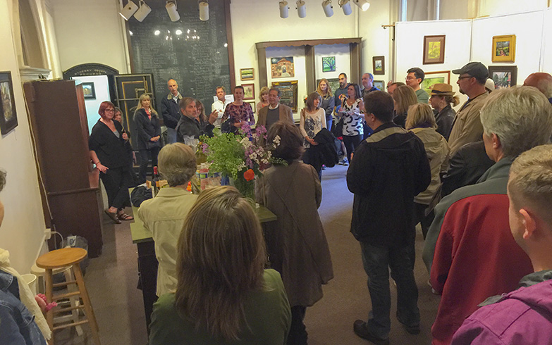 Opening Night reception at the Woodstock Art Center.