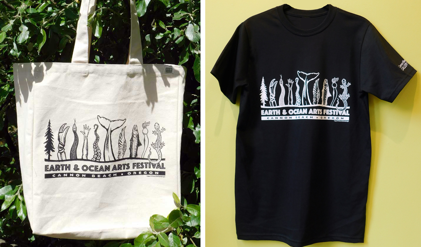 Included with the purchase of the Event Pass is a beautiful and sturdy tote bag made from 100% recycled cotton. There is a limited number of bags available for direct sale at $18. Organic cotton event t-shirts are also available for $28. These basic black shirts show off the Earth & Ocean logo beautifully and are incredibly soft and comfortable. Call DragonFire Gallery at 503-436-1533 to purchase both items.