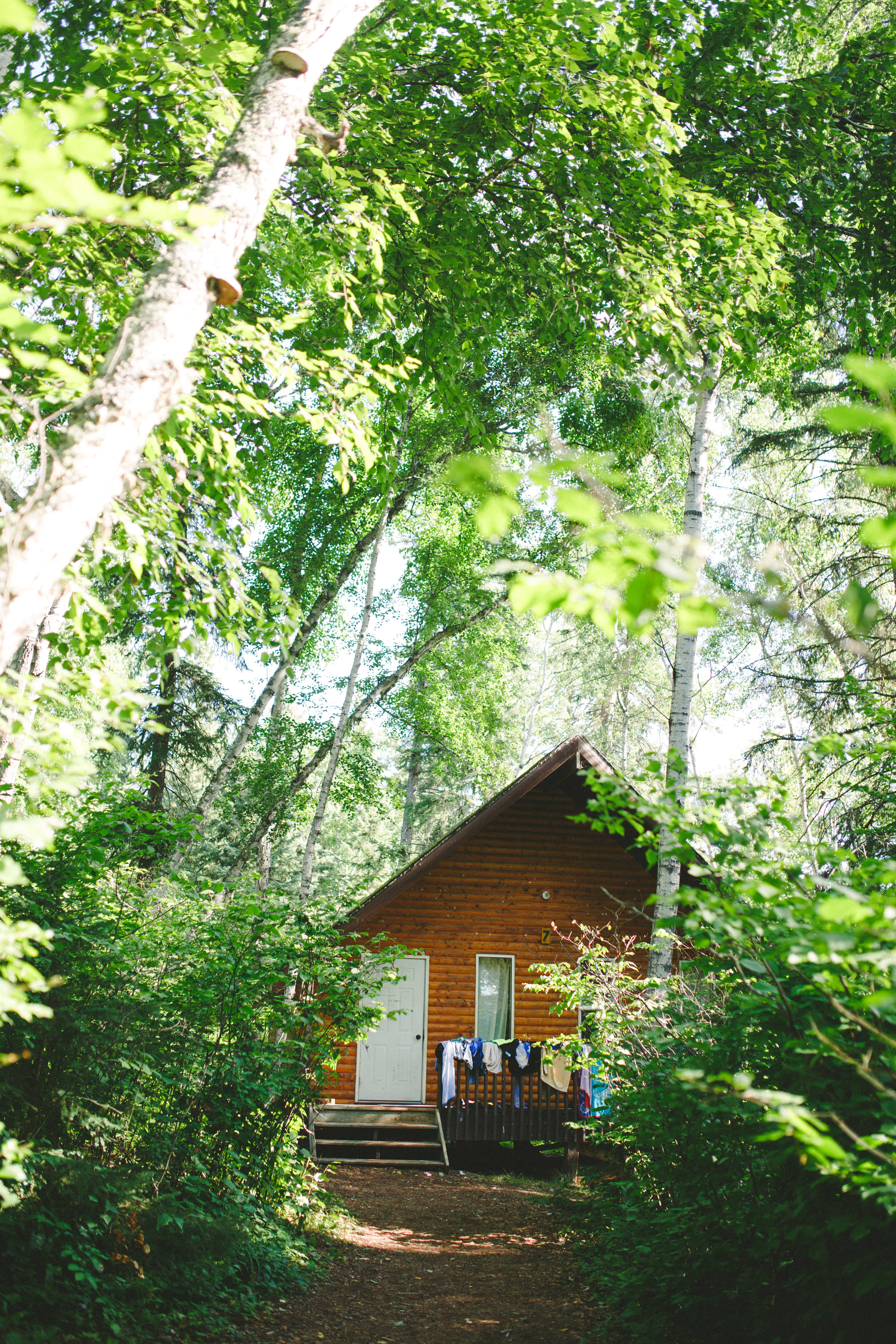 An example of one of our cabins hidden in the woods