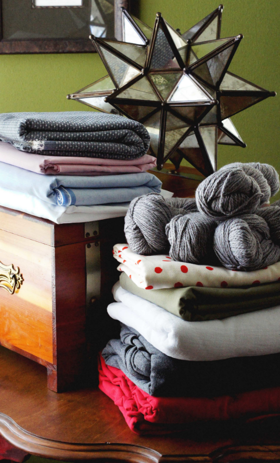 Stacked up: a preview of the materials I'll be turning into my summer wardrobe.