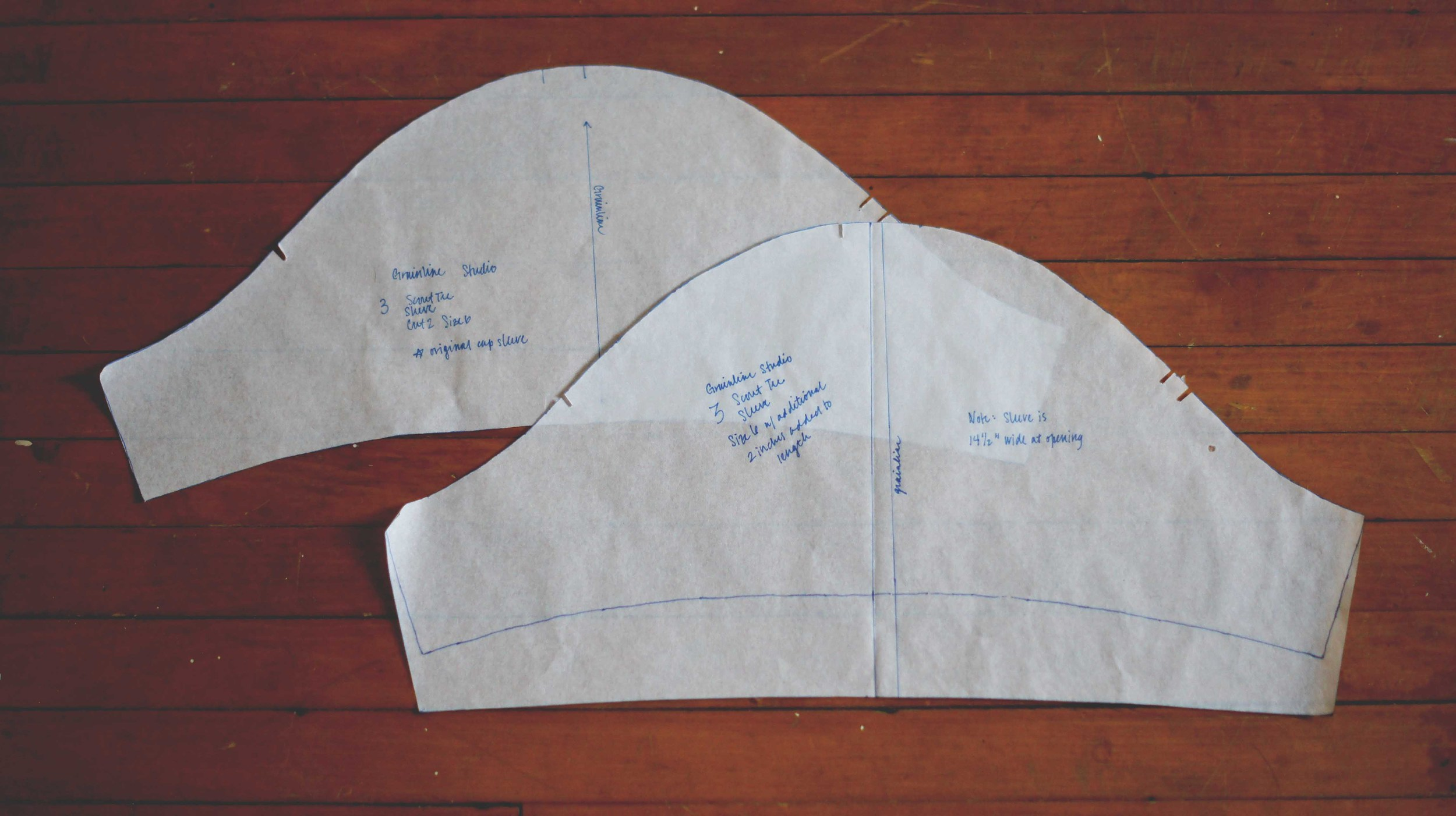 A comparison: you can clearly see here the modification I made to the sleeve pattern as described above.