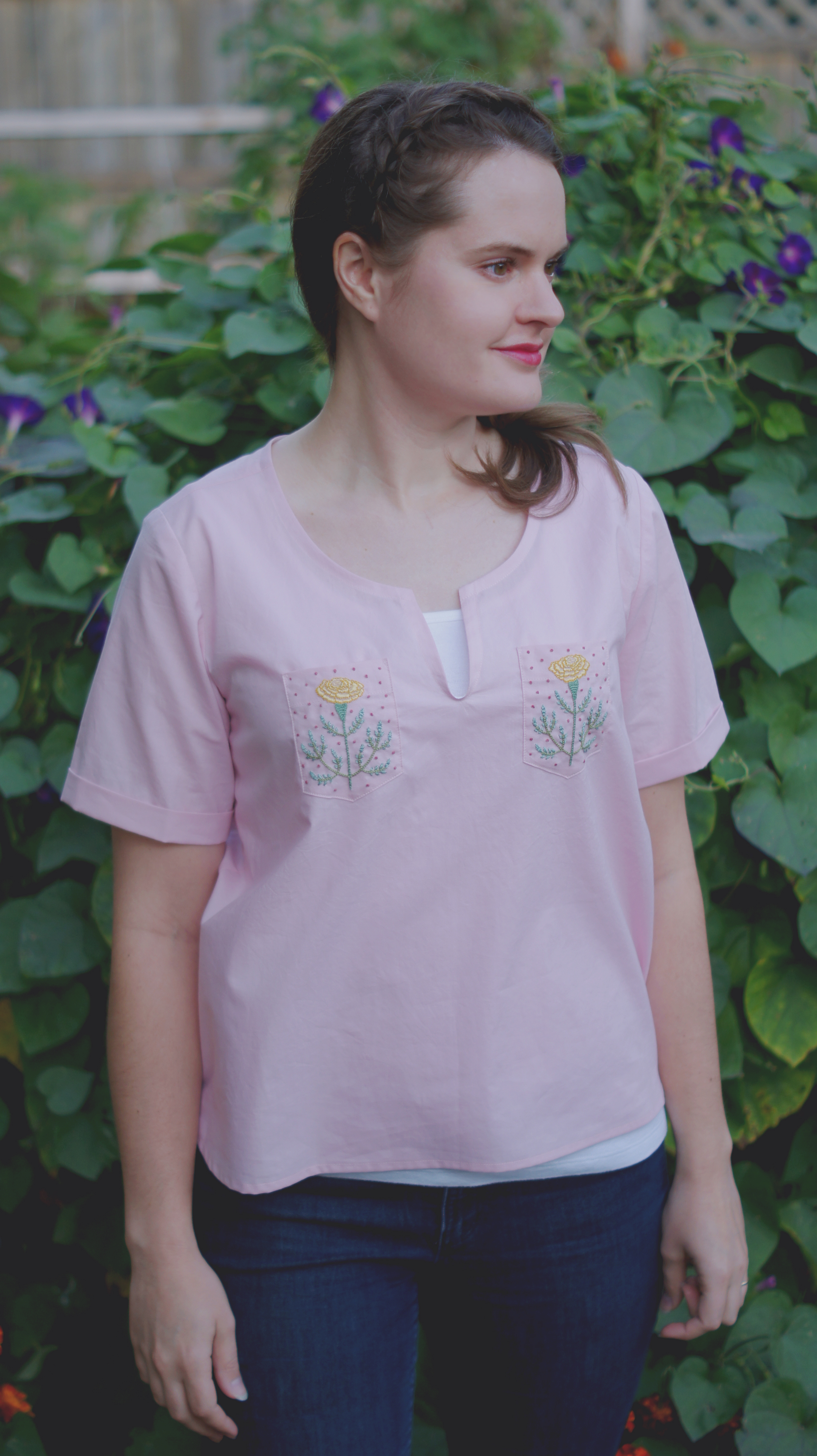 Acanthus House | Marigold Embroidered Patch Pockets