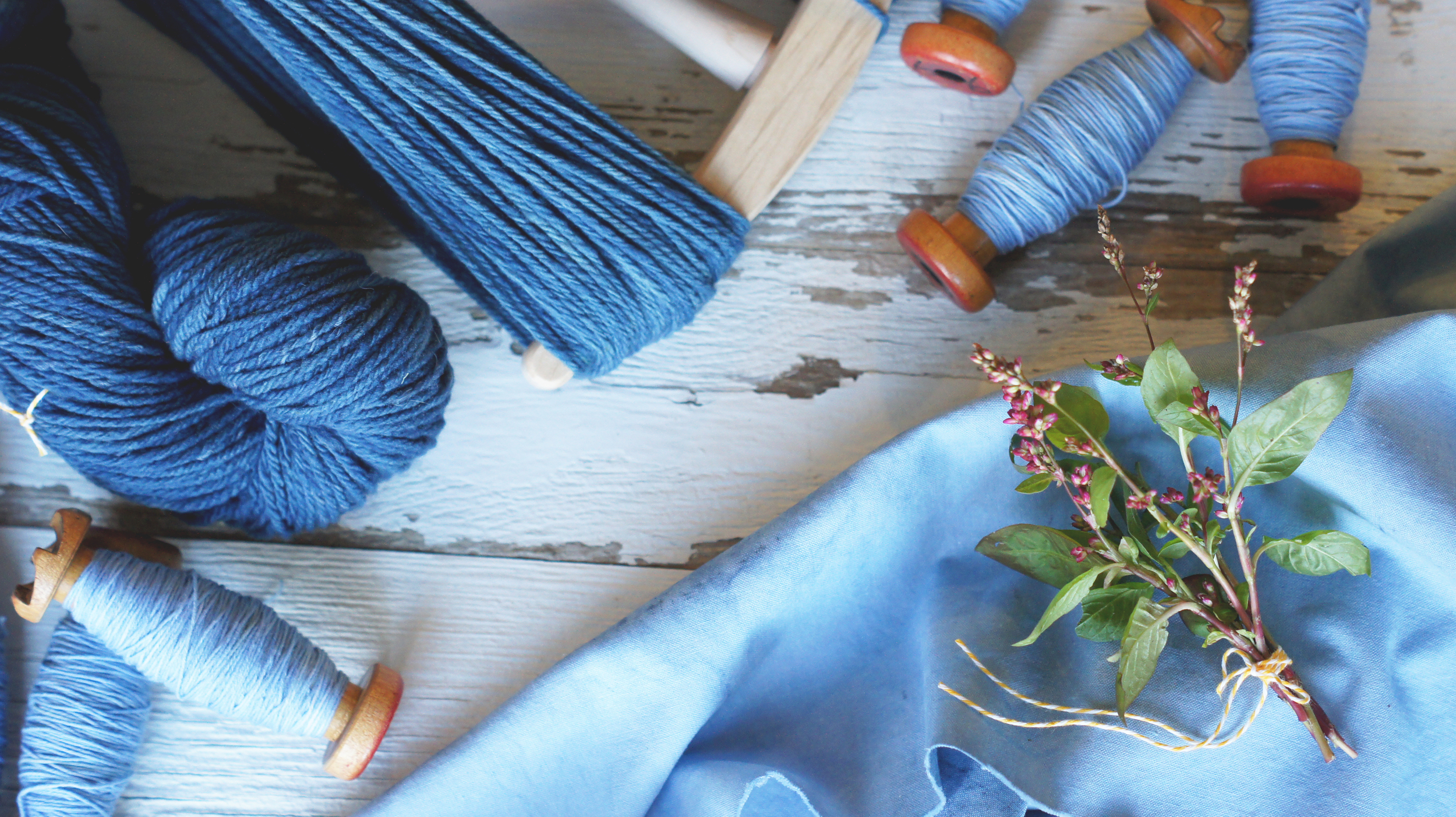 Acanthus House | Indigo Dyed Fiber with Indigo Bouquet