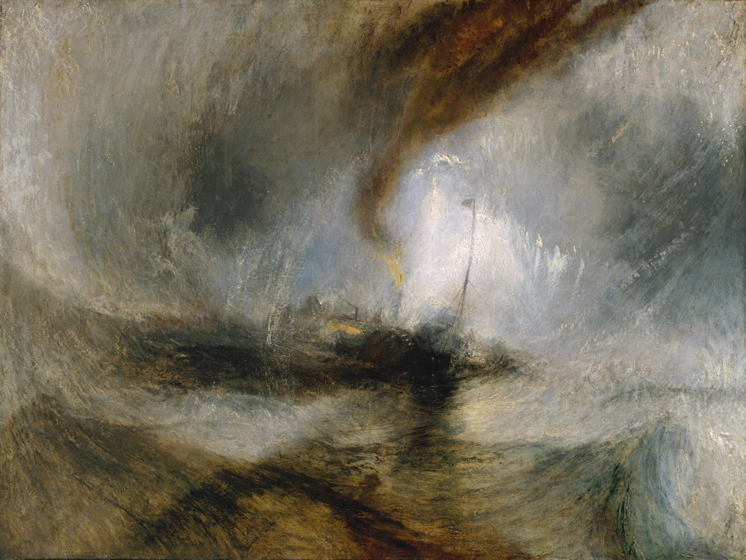 Joseph Mallord William Turner,  Snow Storm - Steam-Boat off a Harbour's Mouth , exhibited 1842