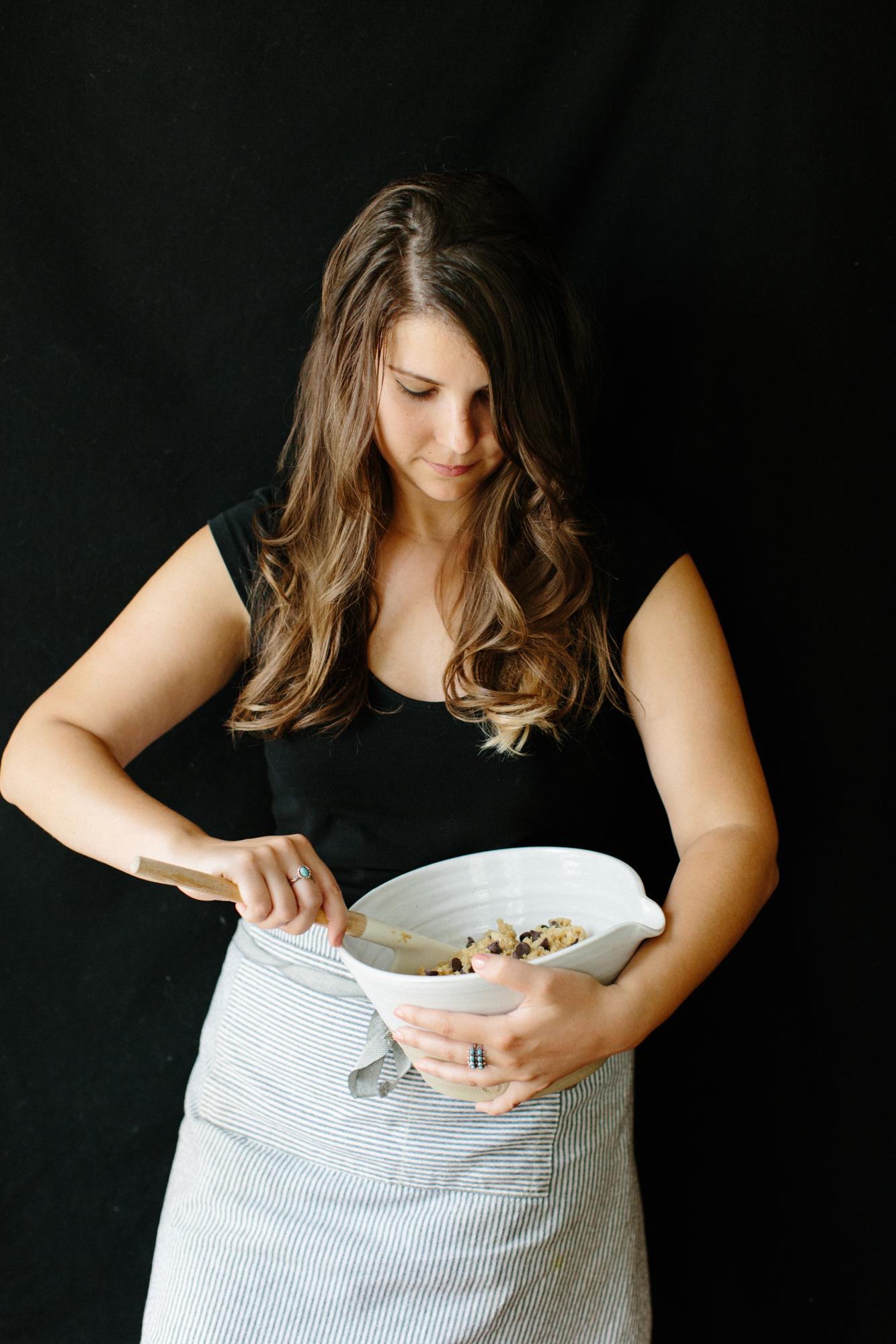 An editorial portrait of Shelly Westerhausen of Vegetarian 'Ventures in her home in Bloomington, Indiana.