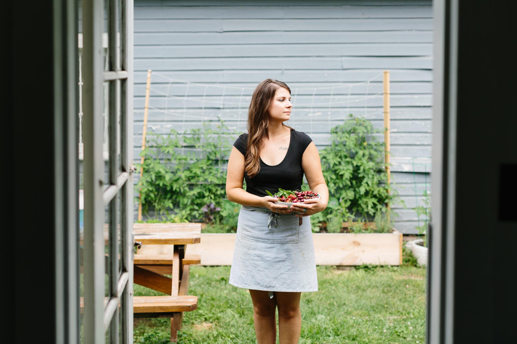 Environmental portrait of Shelly Westerhausen of Vegetarian 'Ventures in Bloomington, Indiana.