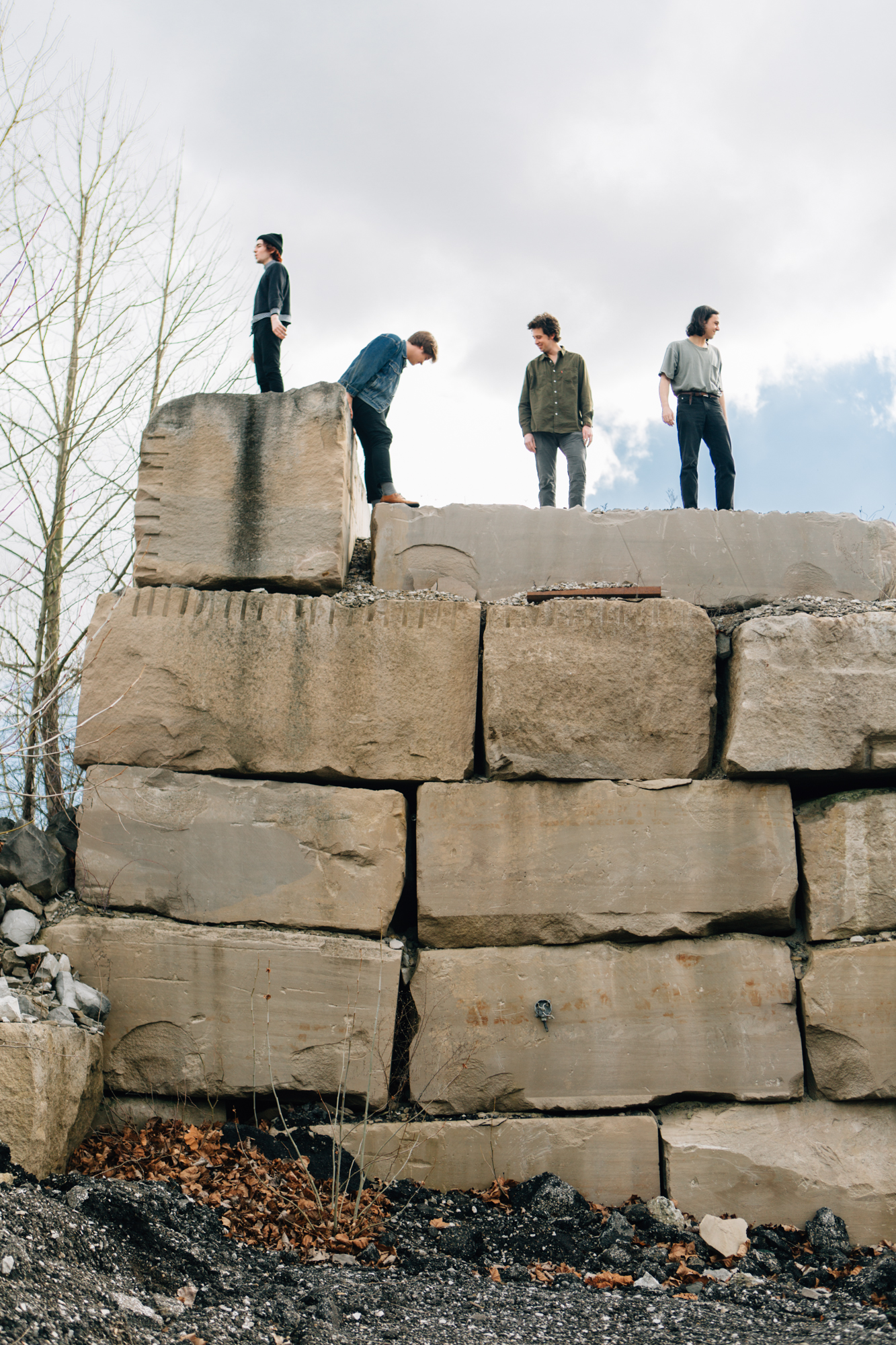 Music portrait of band Hoops at a quarry in Bloomington, Indiana.