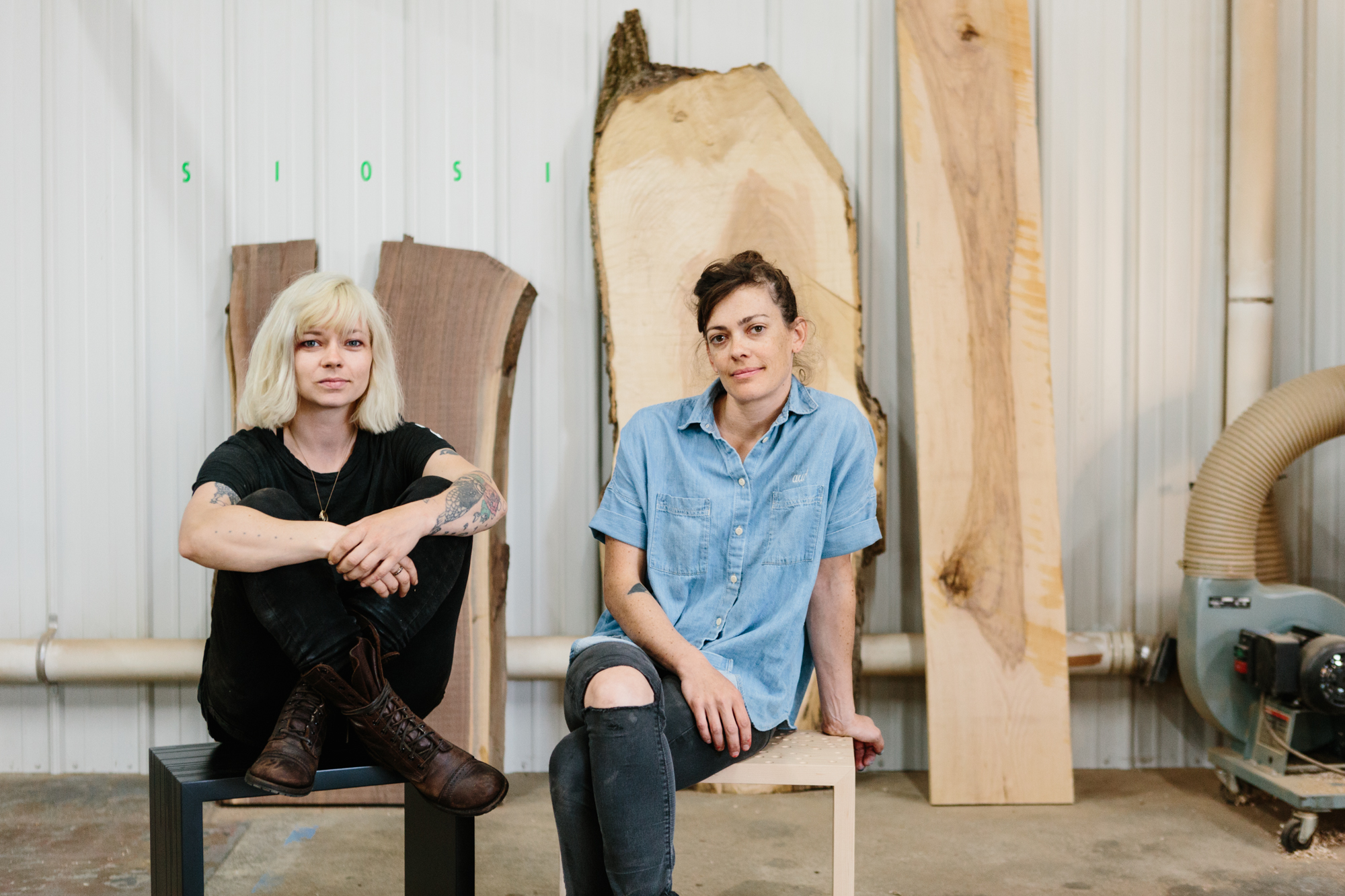 A commercial portrait of Ivy Siosi and Audi Culver of Siosi Design in their studio in Bloomington, Indiana.