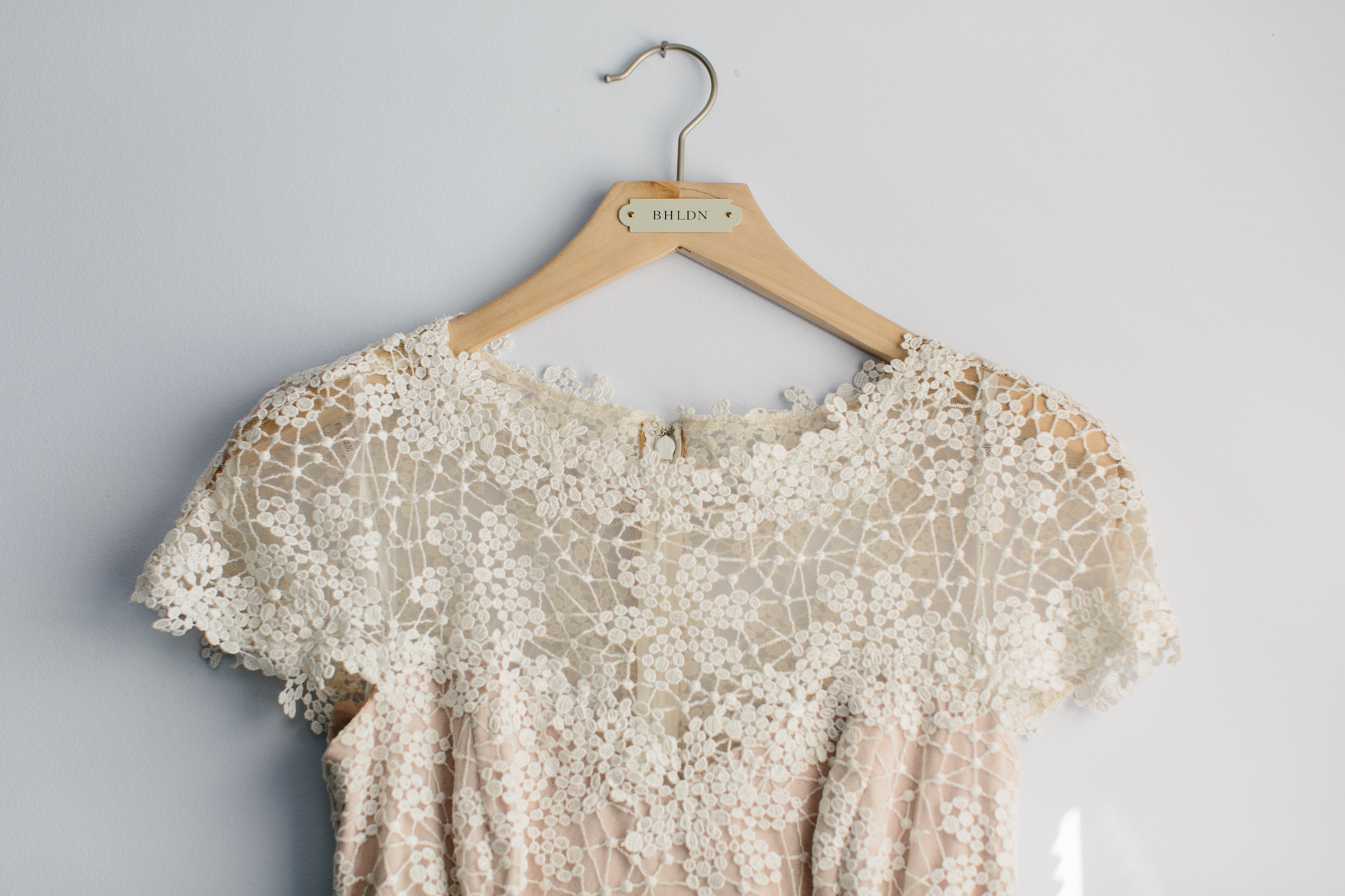 A photos of the bride's dress for her wedding at Trader's Point Creamery in Indianapolis, Indiana.