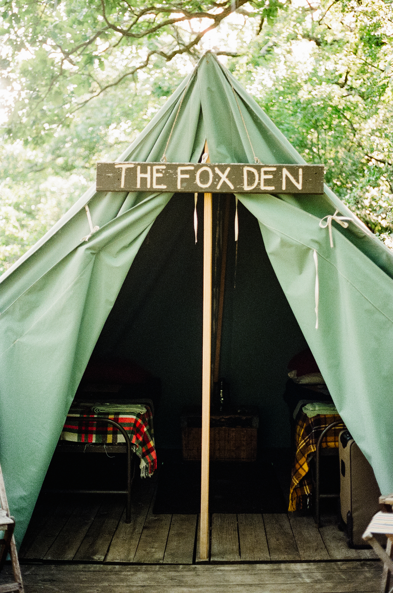 The Fox Den tent at  Camp Wandawega  in Elkhorn, Wisconsin during Let's Camp 2018 photographed for  Driftless magazine  and hosted by  The Glossary  and  Feminest .