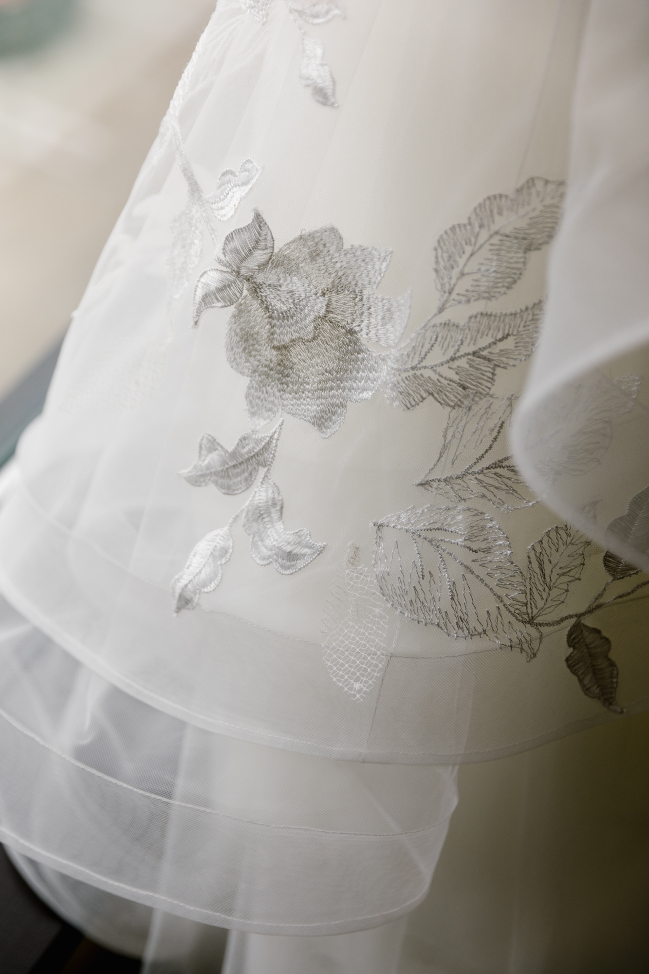 Dress photography from a wedding at Indiana University in Bloomington, Indiana.