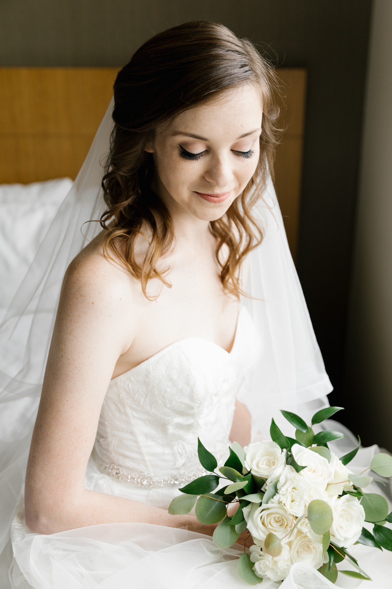 A photo of a bride getting ready for her wedding at the Indiana Memorial Union at Indiana University in Bloomington, Indiana.