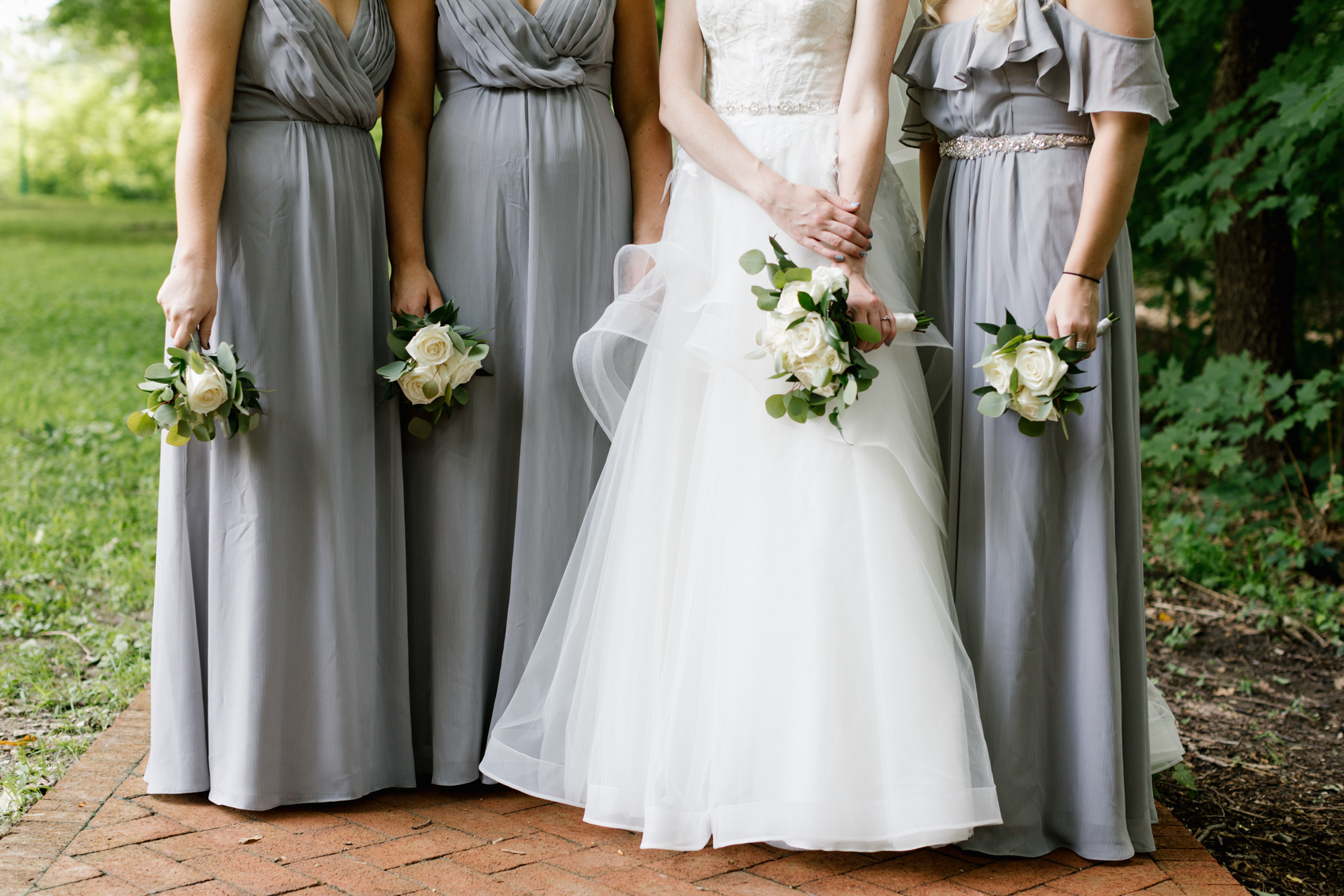 Bridesmaids photography before an intimate wedding at the Indiana Memorial Union at Indiana University in Bloomington, Indiana.