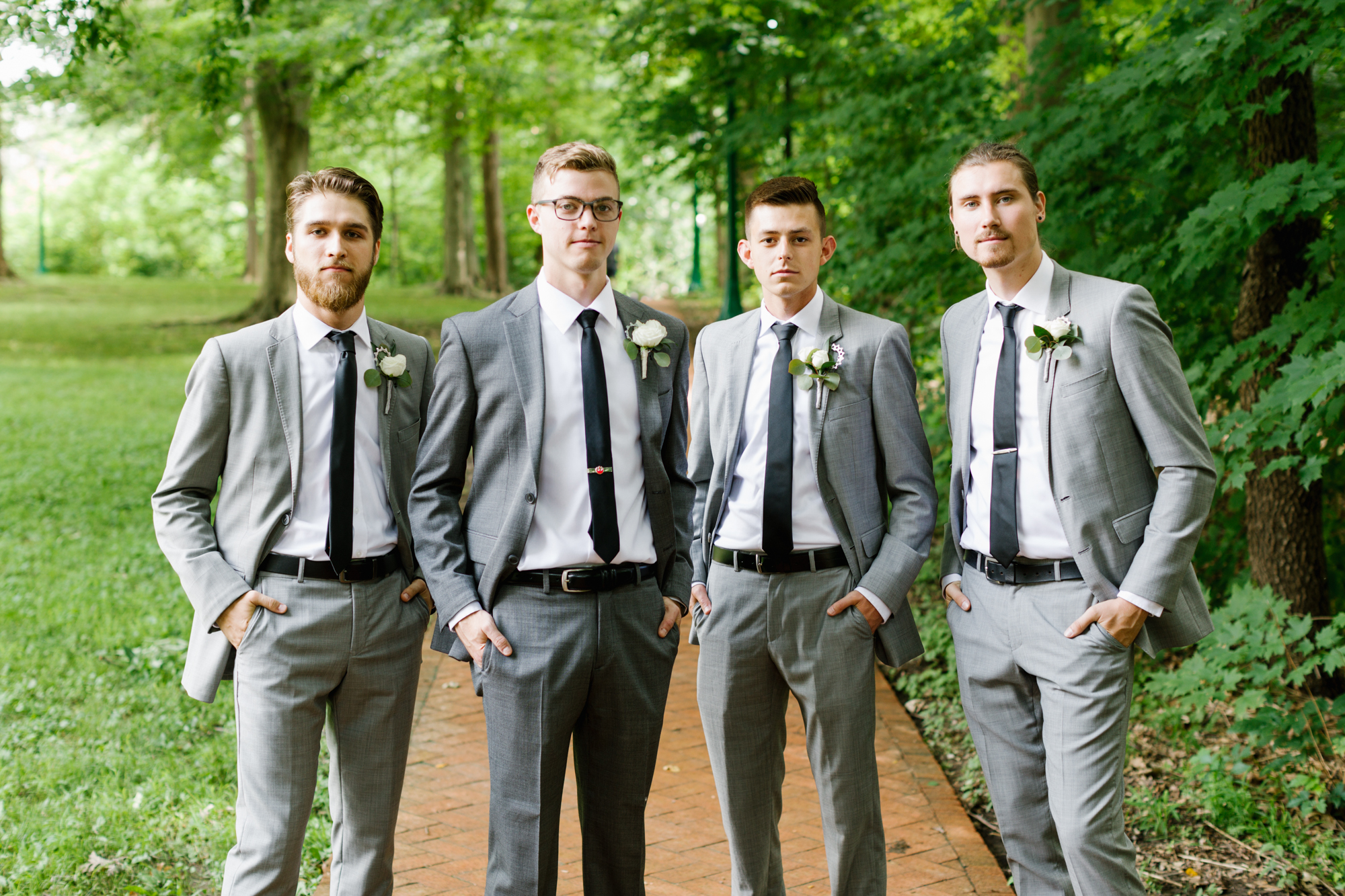 Groomsmen photography before an intimate wedding at the Indiana Memorial Union at Indiana University in Bloomington, Indiana.