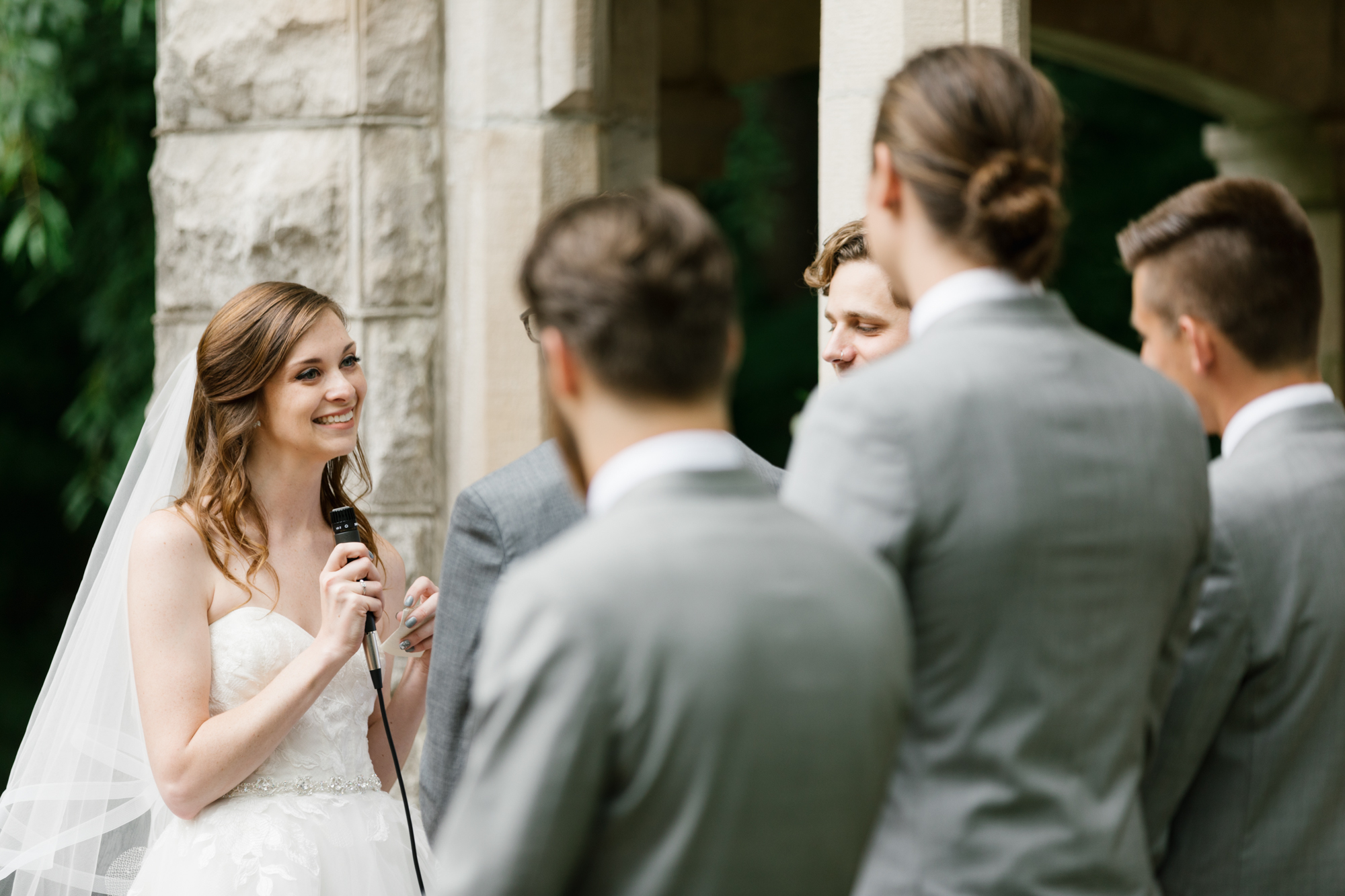 Photography of an intimate wedding ceremony at the Indiana Memorial Union at Indiana University in Bloomington, Indiana.