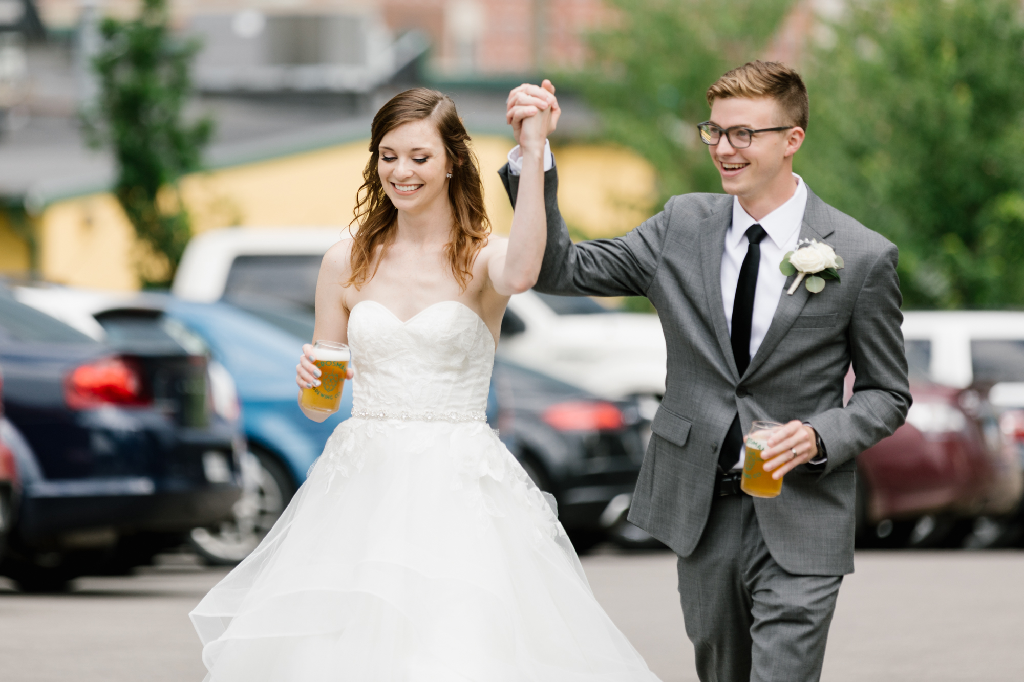 Wedding photography of a couple's wedding reception at Upland Brewing Company in Bloomington, Indiana.