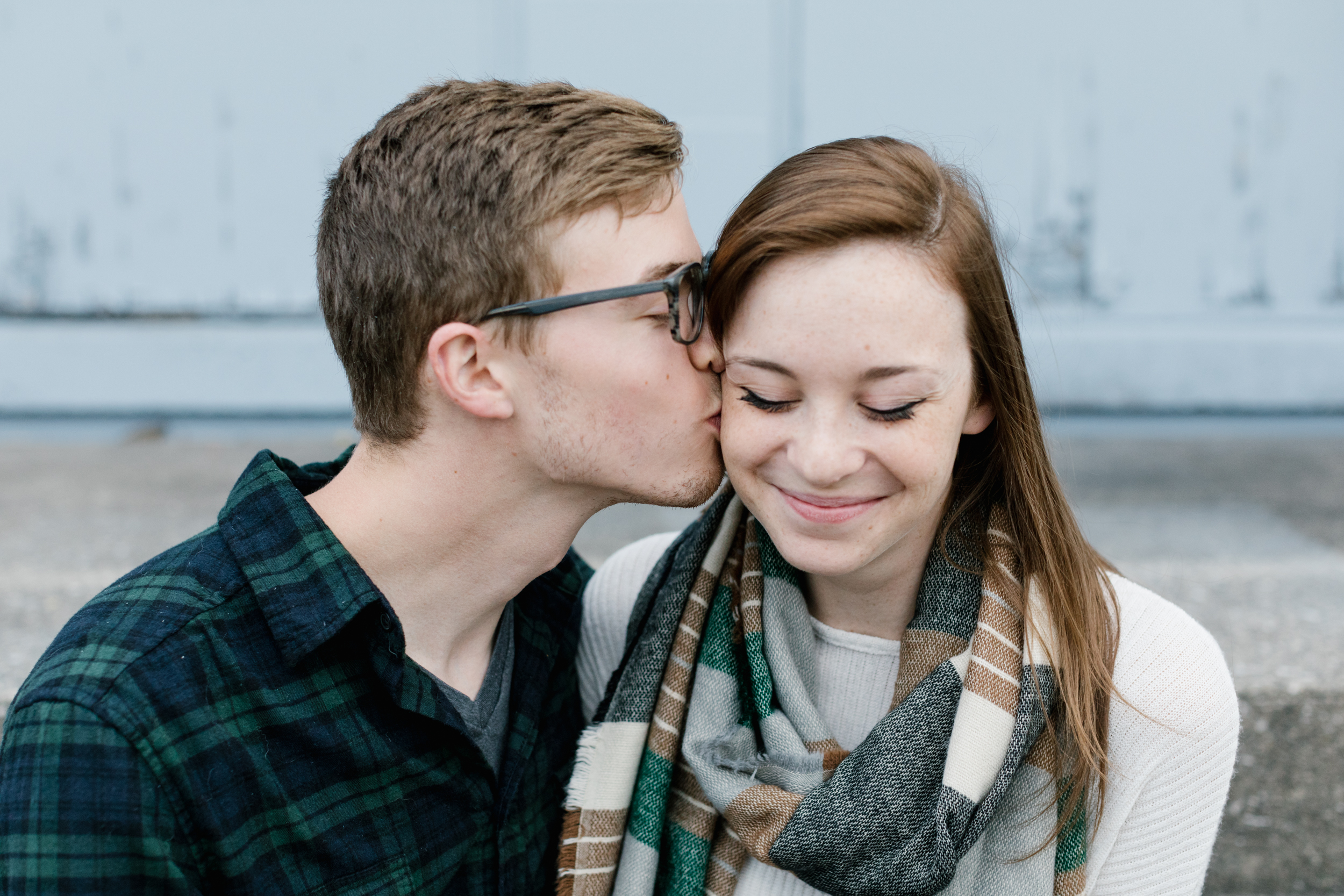 A photo of a couple's engagement session before their wedding in Bloomington, Indiana.