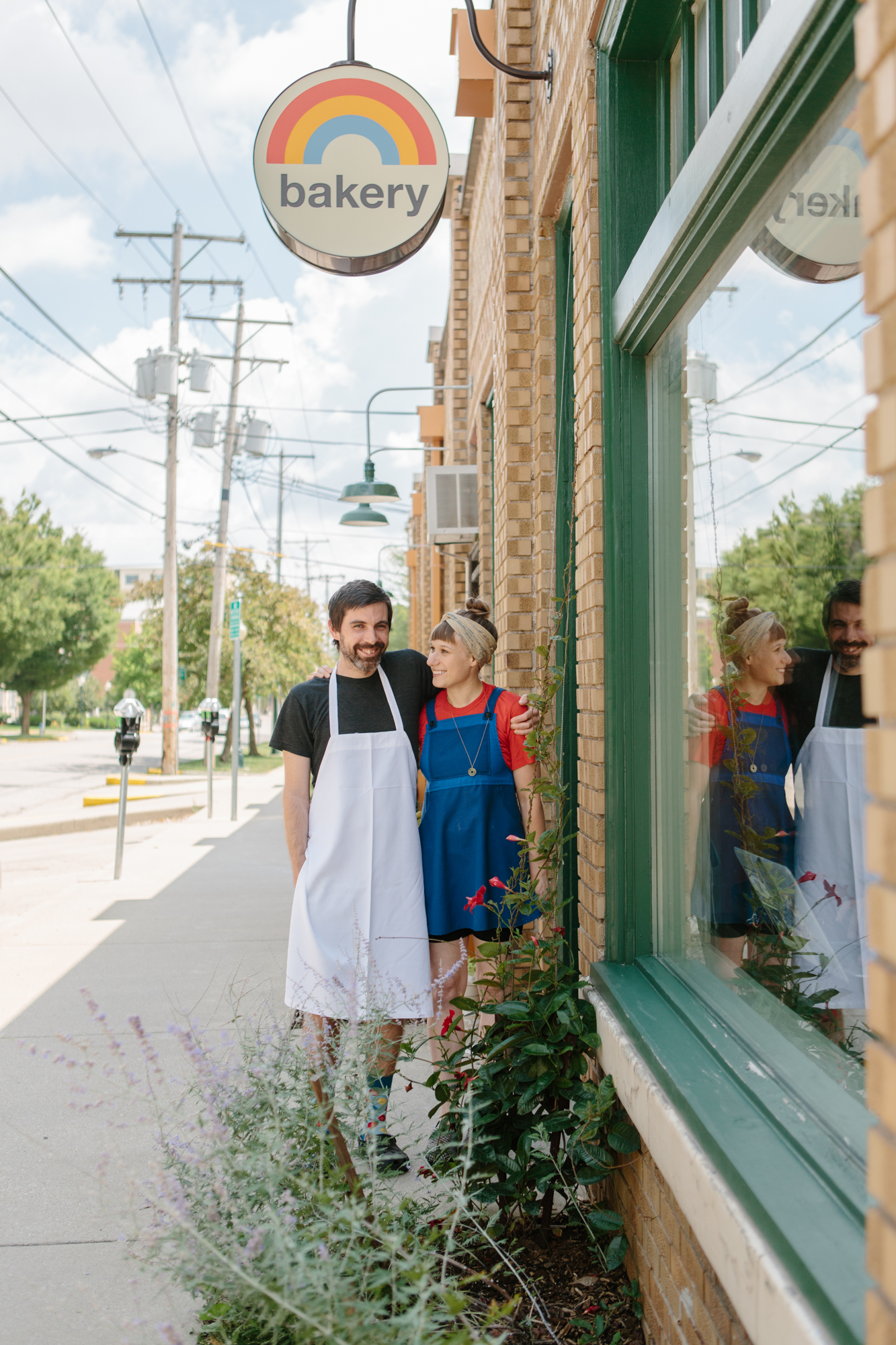A portrait of the owners of Rainbow Bakery, Matt Tobey and Lisa Dorazewski. Rainbow is a vegan bakery in Bloomington, Indiana photographed by photographer and videographer Anna Powell Teeter.