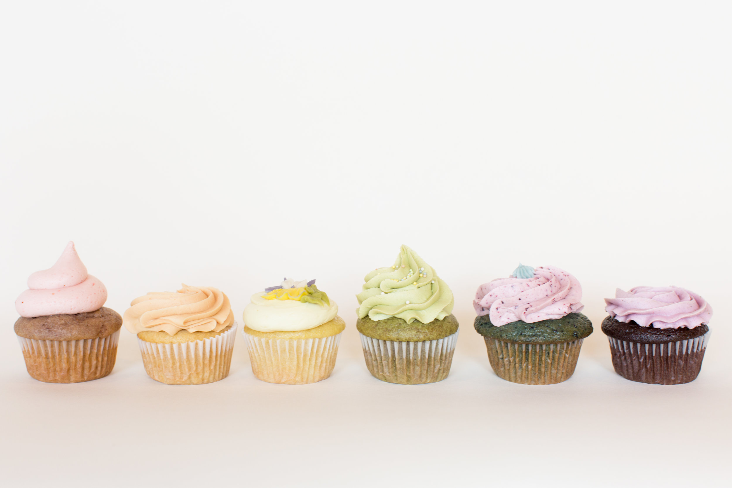 Food photography of vegan cupcakes for Rainbow Bakery, a vegan bakery in Bloomington, Indiana.
