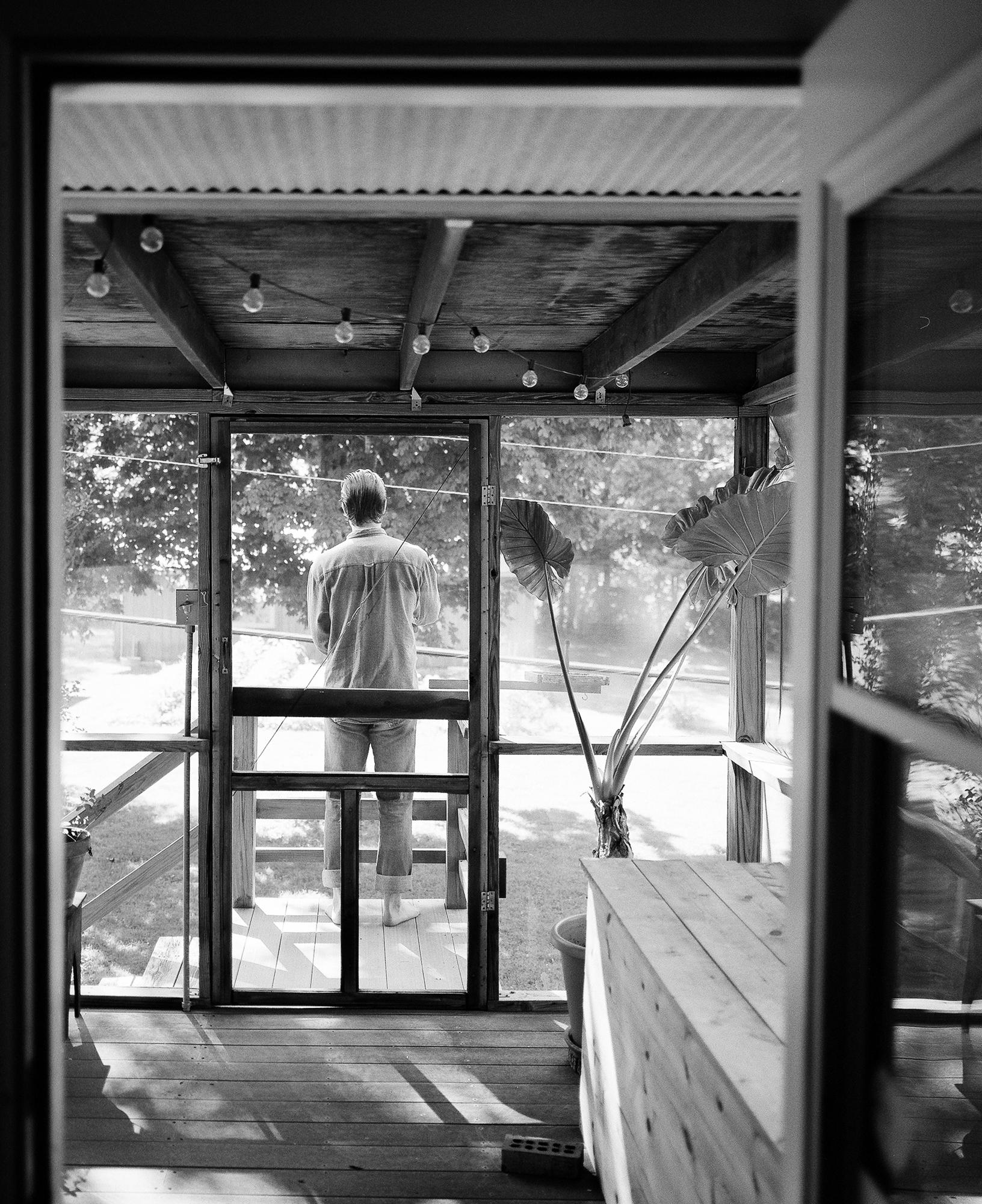 An environmental portrait of Aaron Lowell Denton in Bloomington, Indiana.