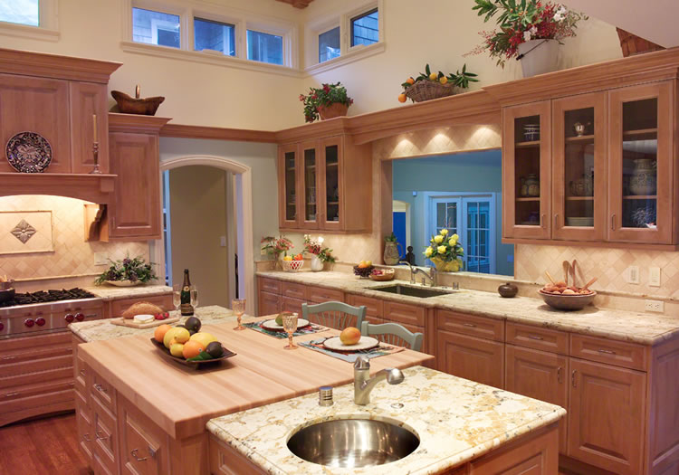 This large kitchen has prep, cooking and clean up areas.