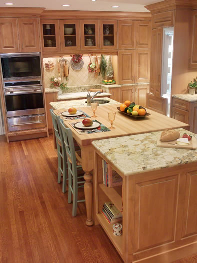 A baking center with lowered counter is also included in this kitchen.