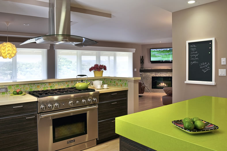 This open kitchen allows the cook to enjoy the view and be part of the action.