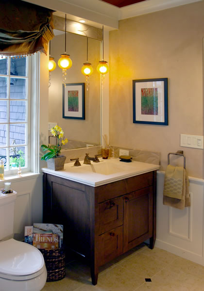 A craftsman style vanity fits with this homes character.