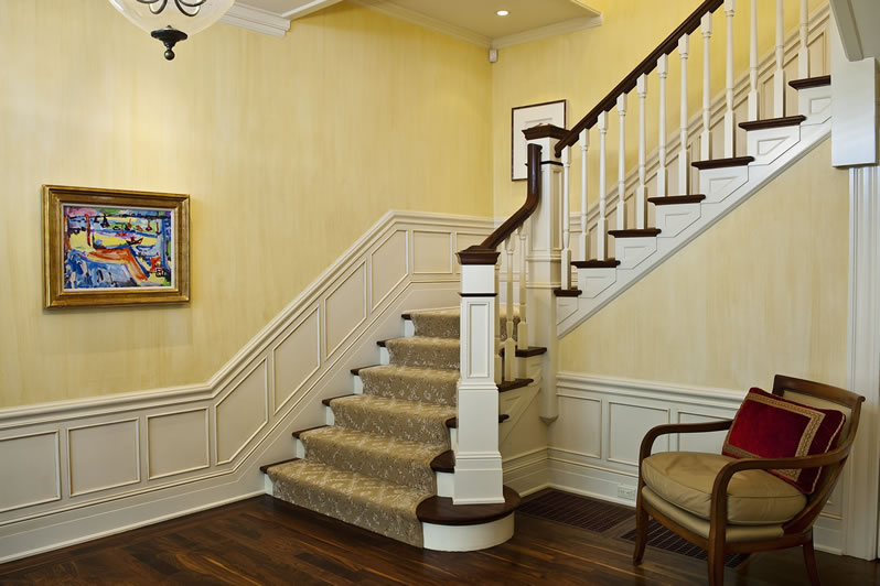 A Victorian entry staircase with wainscot