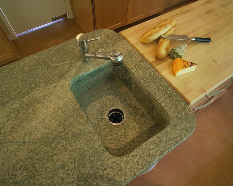 Granite prep sink with radius corners.