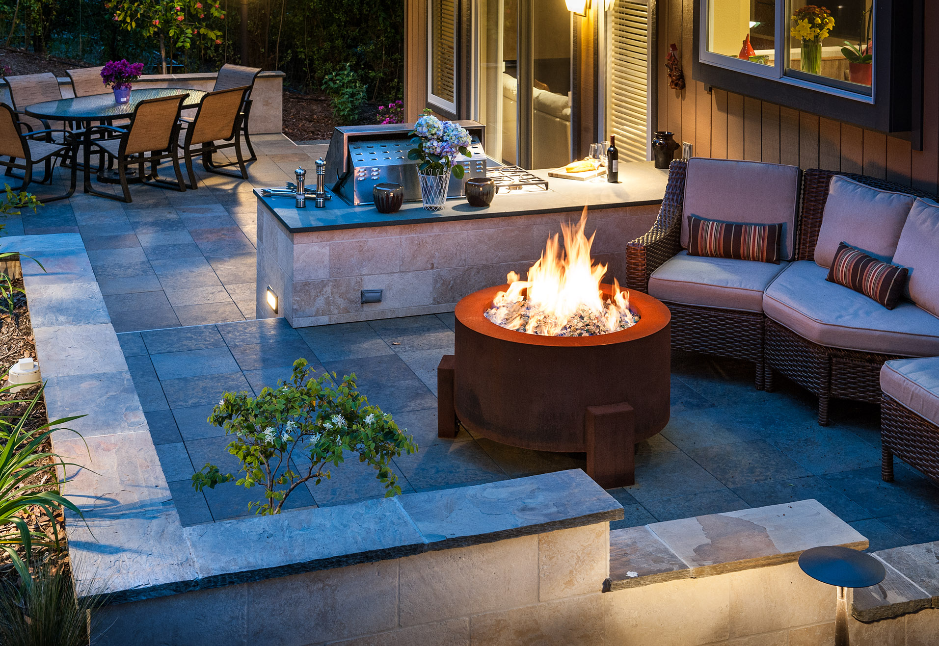 Stay warm around the fire pit.
