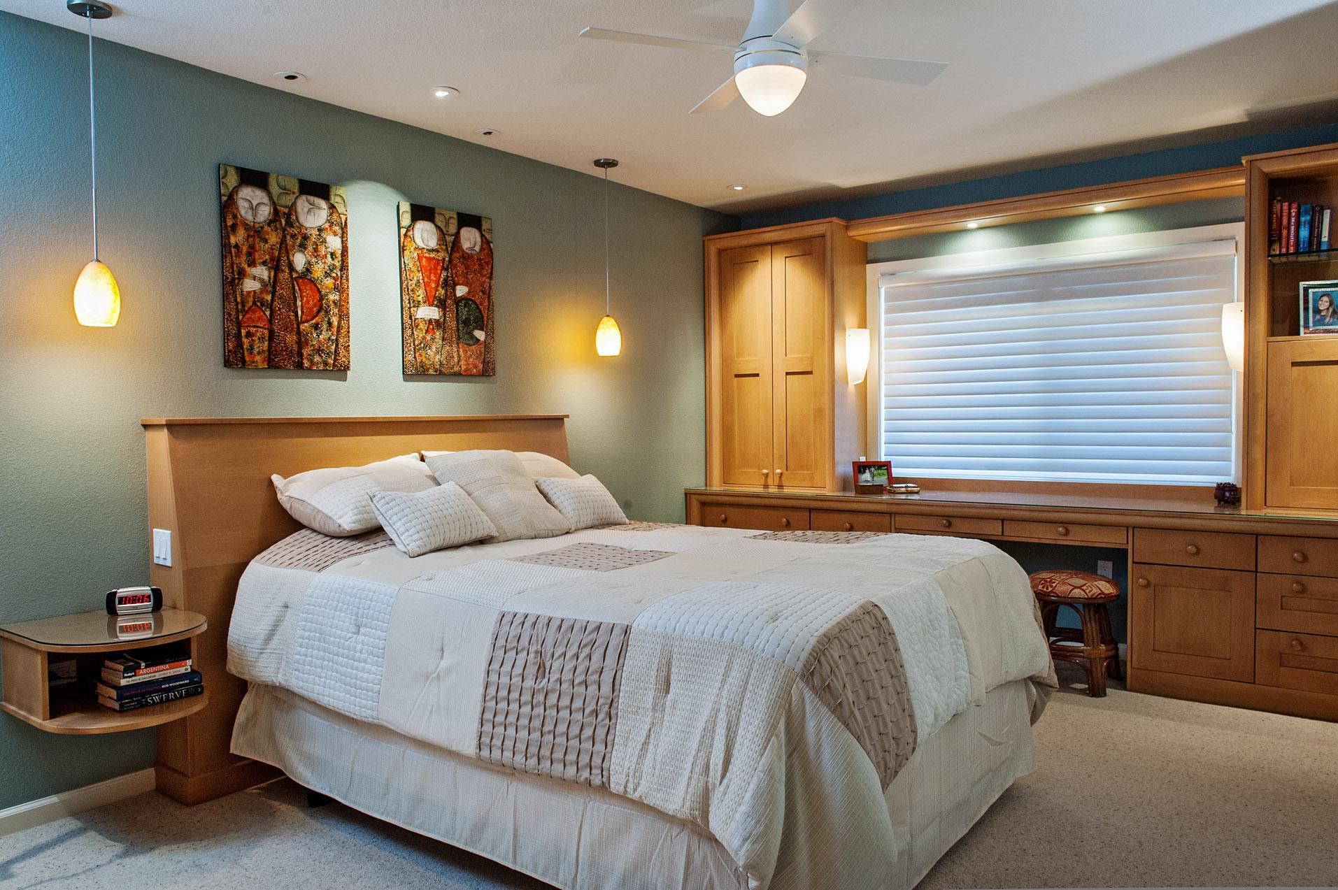 Built-in bedroom furniture.