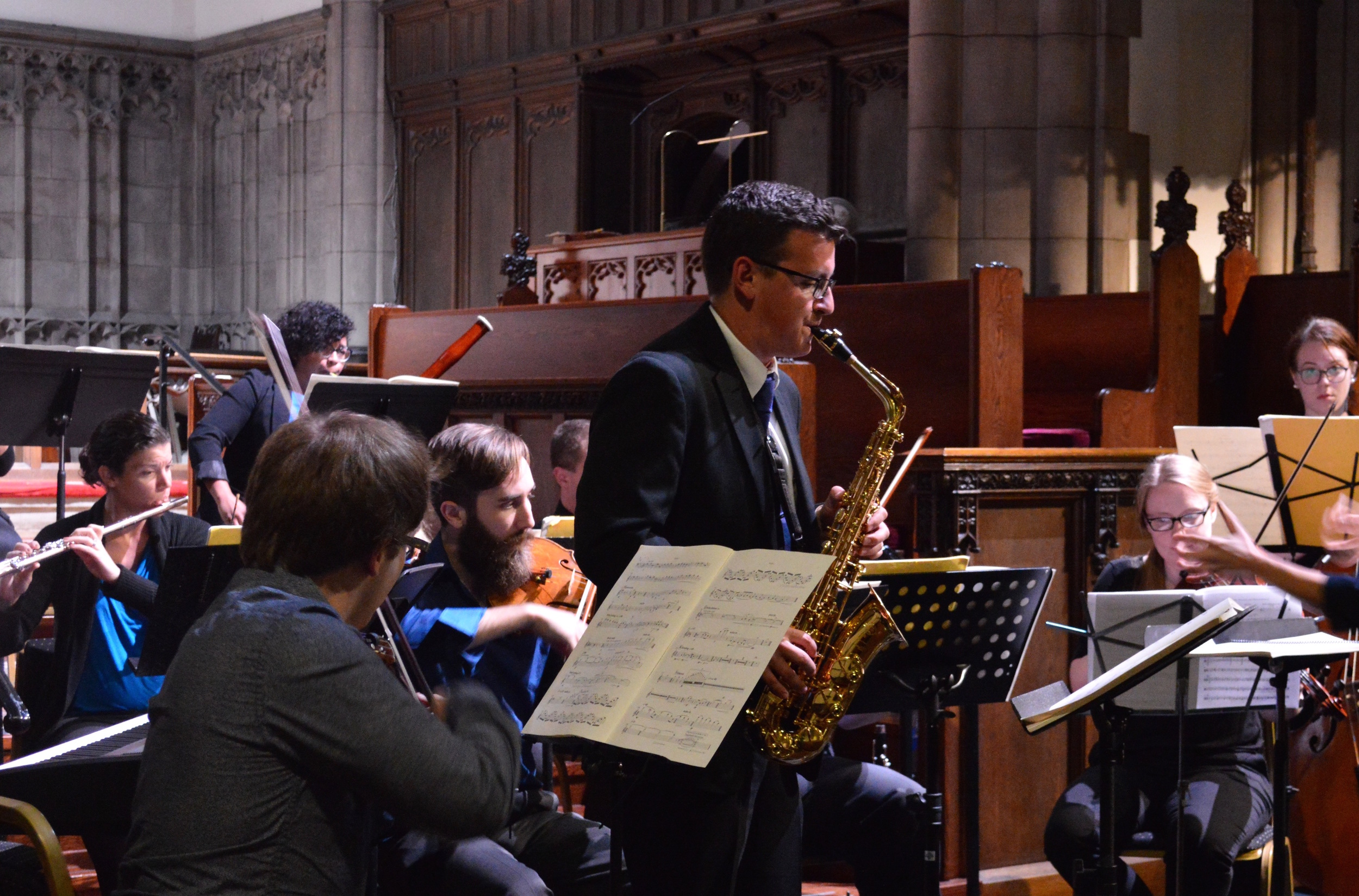 Saxophonist Sean Meyers solos with Symphony Number One. September, 2015.