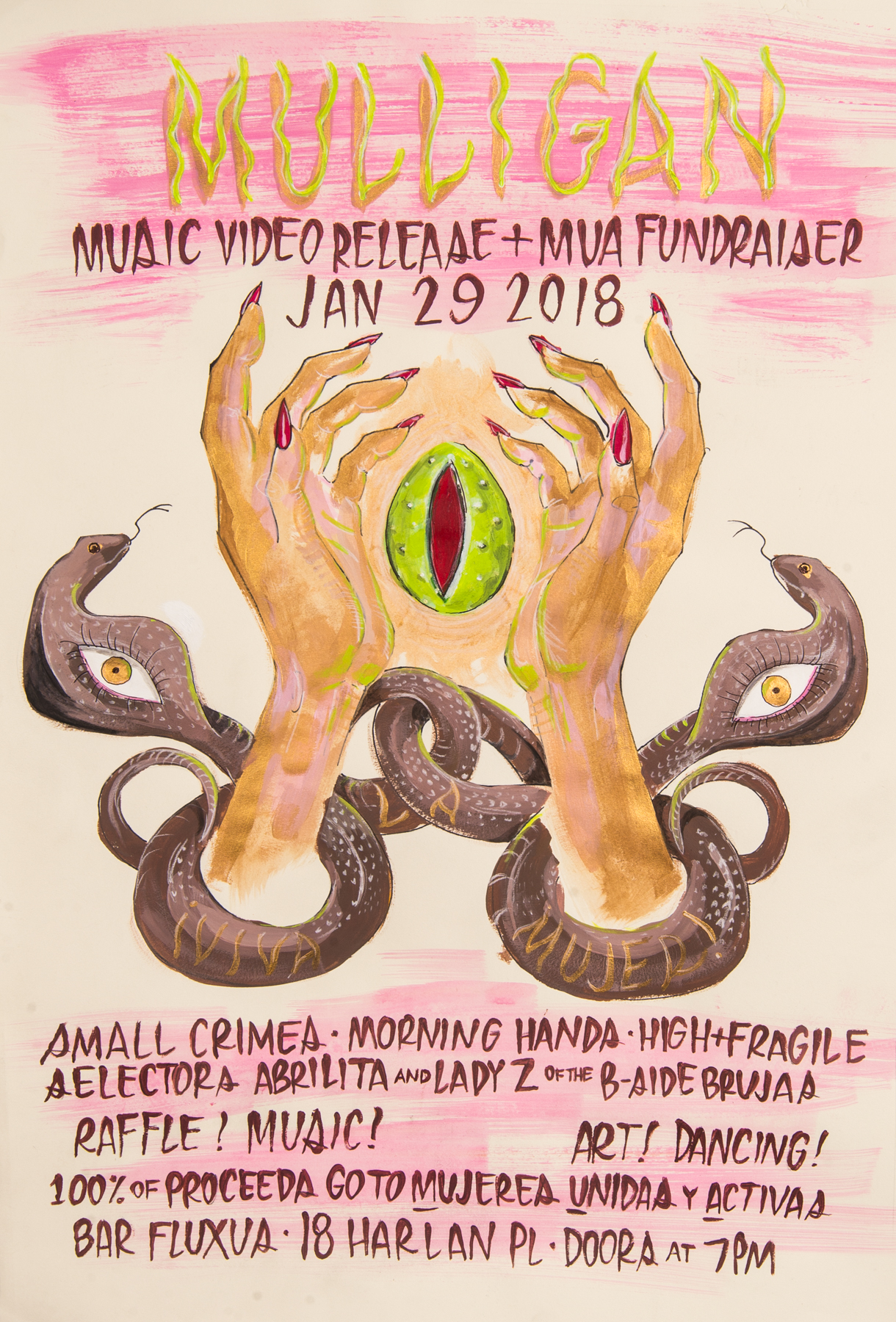 "Show Poster painted by Deb Leal for ""Mulligan"" music video debut at Bar Fluxus in San Francisco, CA."